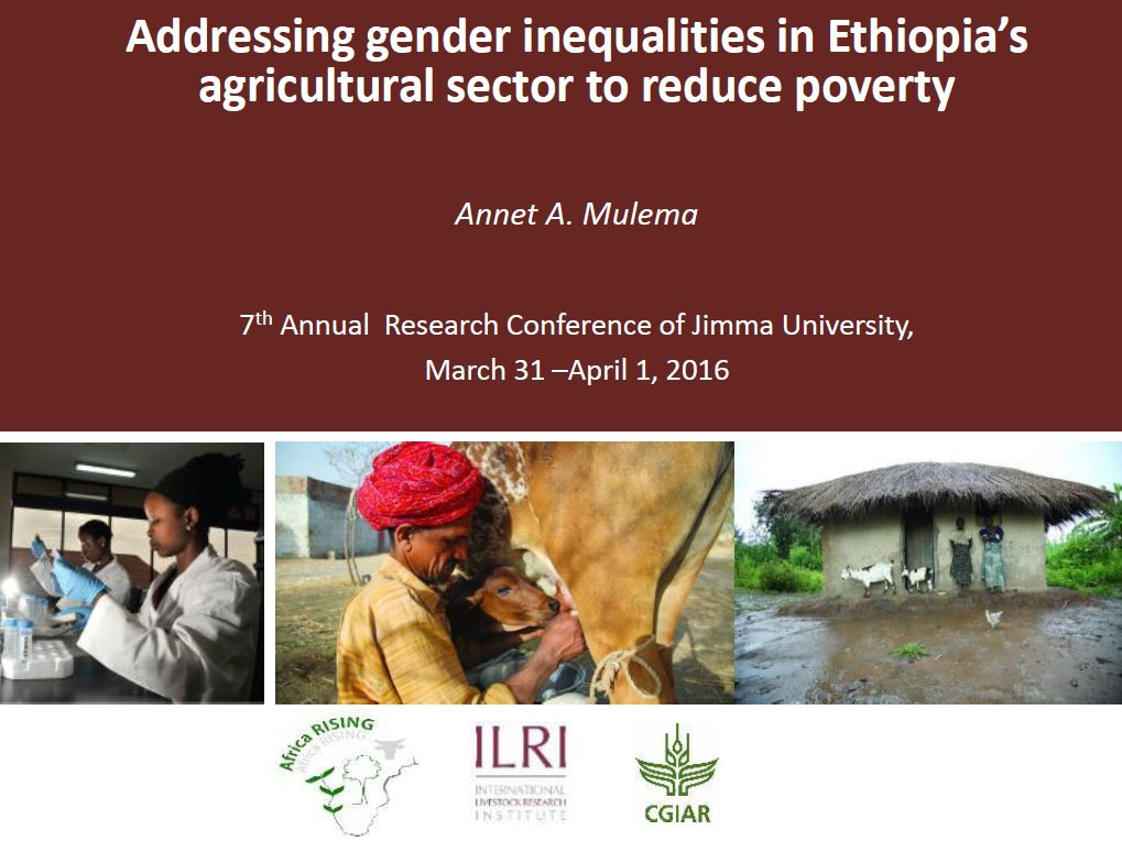 Addressing gender inequalities in Ethiopia's agricultural sector to reduce poverty, 2016